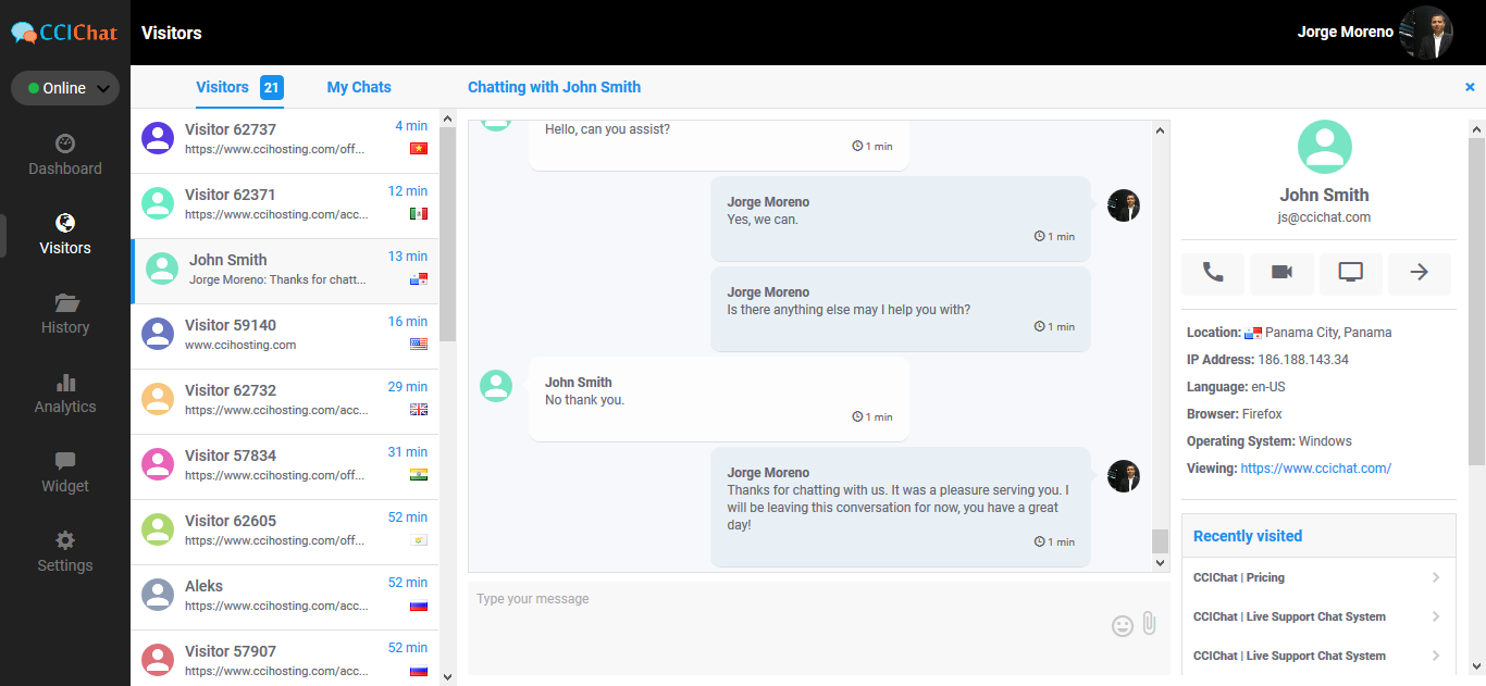 ccichat live chat screenshot
